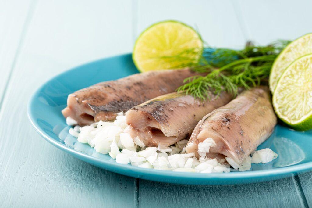 Traditional dutch food herring fish